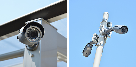 最新式の防犯カメラ。4K映像を録画可能です。