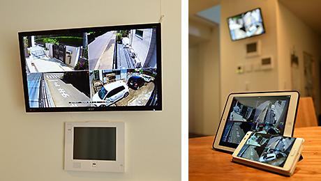 室内のモニタやスマートホン、タブレット端末でも映像を見ることができます。